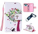 für Samsung Galaxy S3 mini I8190 Hülle Blume Premium PU Leder Schutzhülle für Samsung Galaxy S3 mini I8190 (4 Zoll (10,2 cm) Bookstyle Tasche Schale PU Case mit Standfunktion(+Outdoor Kompass Schlüsselanhänge) (4)