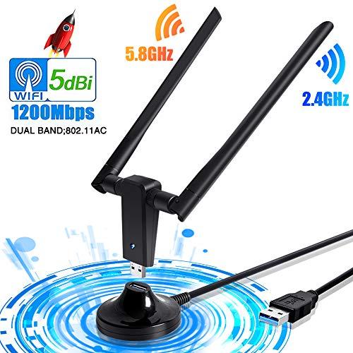 PiAEK WiFi Adapter WLAN Stick USB3.0 WLAN Adapter 1200Mbps Wireless Adapter WLAN Empfänger 5/2.4G mit 5dBi Dual Band Antenne für Windows10/7/8/XP/VISTA/Linux