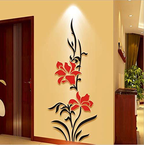 Pegatinas de Pared Arriba y abajo flores 3D cristal acrílico espejo pegatinas de pared sala de estar...