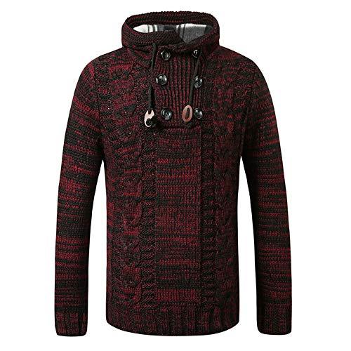 BEIXUNDIANZI Herren Winterpullover für Männer Herren Pullover Hoodie Kapuzenpullover Strickpullover Longsleeve Sweater Sweatshirt Pulli F-Wine Red S