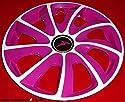 J-Tec 4 Radkappen Turbine Weiss Glanz-pink mit Klarlack 14 Zoll TOP