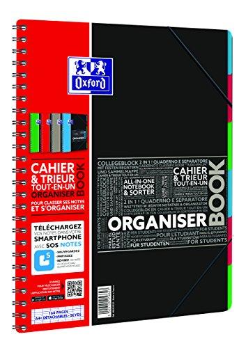 Oxford - 400019523 - Organiser Book - Cahier + Trieur - 160 Pages - Coloris Aléato