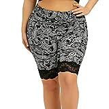 UFACE Damen Spitzennähte große Größe Yoga Hosen Leggings Plus Size Leggings Kurze Yoga Sport Print Hosen(Schwarz,XL/(40))