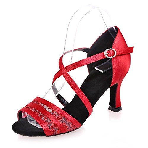 L@YC Weibliche Latin Dance Schuhe Flash Chiffon-Innen Schnalle Splicing Multi-Farbe Große Größe Kann Angepasst Werden #, Red, 38 - Chiffon Red Heels