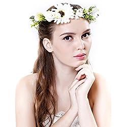 Diadema corona de margaritas de Ever Fairy® con cinta ajustable, para bodas y festivales Azul blanco Taille unique