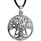 Anhänger Lebensbaum Keltischer Baum des Lebens mit Pentagramm 925er Silber Schmuck mit Lederhalsband - Heilung - 5502