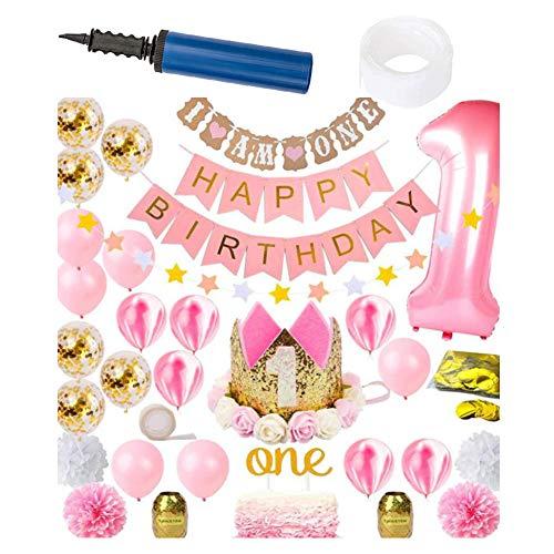 1. Geburtstag Dekorationen 34pcs Mädchen First Party Supplies Set Prinzessin Pink Gold Theme Kit | Alles Gute zum Geburtstag Banner,Pink