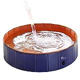 Pidsen Piscina para Perros Plegable PVC niños Cachorros Piscina de Gatos Tina de baño para Niño de Mascotas niños (Azul -...