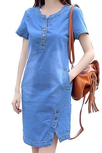 La Mujer Manga Corta Una Linea De Vestido De Verano Casual Vestidos Denim Jean Blue XL