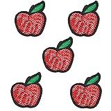 Cdet 5X Frucht Aufbuegler DIY Pailletten Stickerei Applikation Cheongsam Patches für Deko Tasche T-Shirt Jeans Hut Kleidung Nähen Stoff Patches (Apfel)