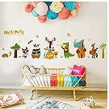 Autocollant mural pour chambre d'enfants salon autocollants de porte maison mignon animaux musique fête stickers muraux