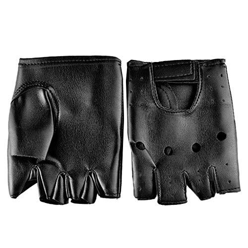 Autone 1 Paar Herren Hip-Hop-Handschuhe aus Kunstleder, Rutschhemmende Halbfinger-Handschuhe