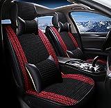 ZXCVBNM Auto Kissen Sommer Eis Seide Belüftungskissen Auto Schönheit 3D Sitzkissen Handgefertigte Eis Seide Jahreszeiten Pad,Black