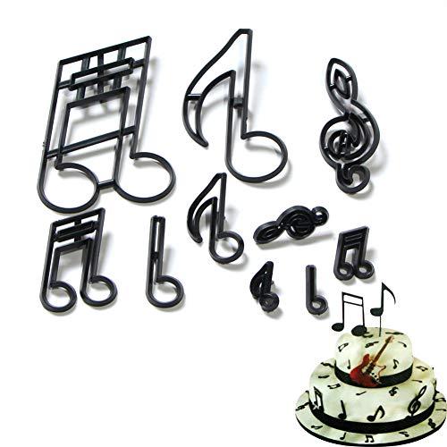 RIsxffp Ausstechformen für Kuchen, 10 Stück Die Musik aus Kunststoff Note Realce Pastellform DIY Kekse Ausstecher Dekorieren Werkzeug schwarz