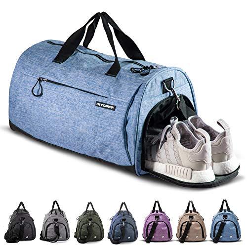 Fitgriff® Sporttasche Reisetasche mit Schuhfach & Nassfach - Männer & Frauen Fitnesstasche - Tasche für Sport, Fitness, Gym - Travel Bag & Duffel Bag 58cm x 31cm x 31cm [50 Liter] (Light Blue, Medium)