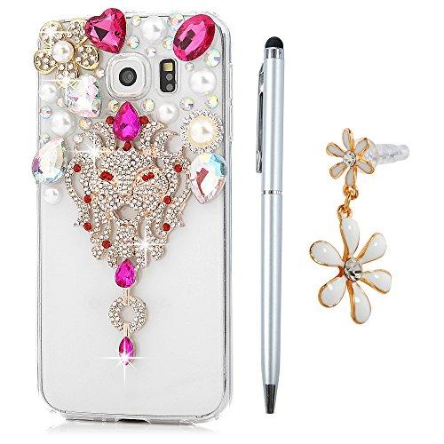 Custodia per Samsung Galaxy S6, Trasparente Glitter Bling Strass Case Rigida Plastica Hard - MAXFE.CO 3D Fatto a mano Cover Plastica PC Duro Protettiva,Cristallo Diamante - Fiori,perle,Leone