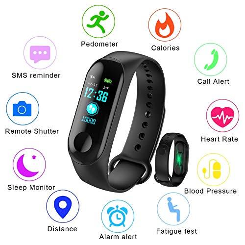 LIGE Fitness Tracker,0,96 Zoll Farbdisplay Mit Pulsmesser Schlafüberwachung Intelligentes Armband IP67 Wasserdicht Sport Armband Schrittzähler Kalorienzähler Kinder, Männer, Frauen Schwarz Uhr