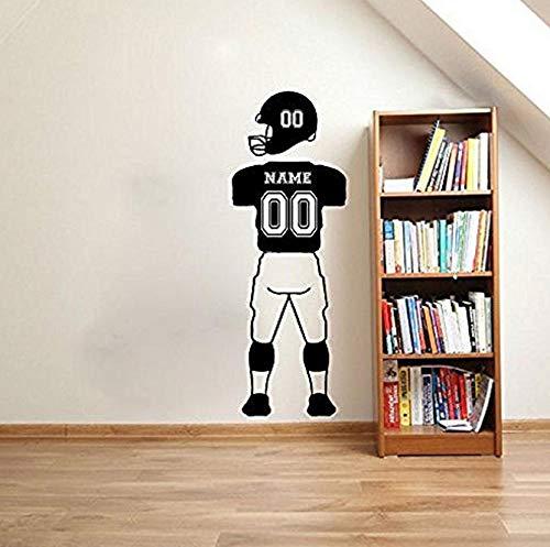 Adesivo da parete NUMERI DI NOME personalizzati Giocatore di football Decalcomanie da muro Abbigliamento sportivo Pantaloni Vinile Parole Adesivo