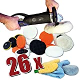 Kingbarney XL Profiset - Poliermaschine / Polierer 1600 Watt Set 2 - digitales Display + Polierschwamm Zubehörset - 26 Teile - Auto polieren