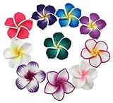 Superbe coloré Mini Diamètre 3,6cm artificielle fleur de frangipanier Plumeria Hawaiian 50pièces pour fête de mariage Home Office Décoration faite main Cadeau pour la fête (couleur aléatoire)