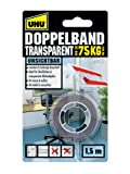 UHU 45375 Doppelband (75 kg, 1,5 m x 19 mm, transparent)