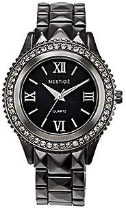 Mestige Women's Black Dial Alloy Band Watch - Mswa3114, Black Band, Analog Dis