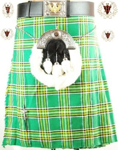 irish-8yard-klauenhammer-traditionelle-herren-scottish-tartan-kilt-gr-36w-uk-x-regulr-grn