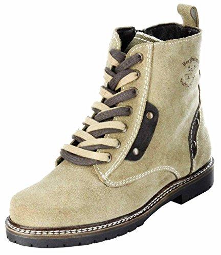 Bergheimer Trachtenschuhe Stiefeletten Trachten Stiefel beige Damen Schuhe Gossl, Farbe:beige, Größe:42