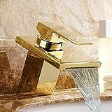 Bacino Rubinetti Golden Brass cascata lavandino rubinetto monocomando Piazza becco igienici calda fredda del miscelatore acqua Rubinetti LT-501-1