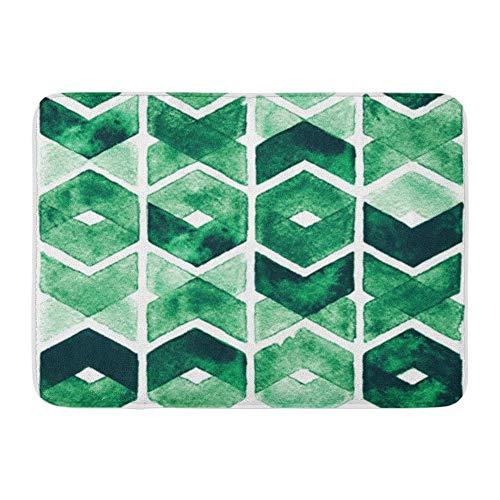 LIS HOME Badematte Flanell Stoff weich saugfähig Bunte Smaragd Aquarell Chevron grüne Farben auf abstrakte üppige Wiese gemütliche dekorative rutschfeste Memory Badezimmer Teppich (Chevron Flanell-stoff)