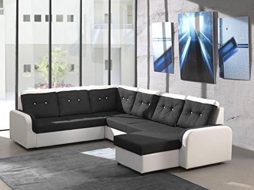 Ecksofa Bond3 mit Bettfunktion Schlaffunktion Wohnlandschaft Couch U-Form 01628 (Ottomane wie abgebildet, Farbänderung nach Wunsch)