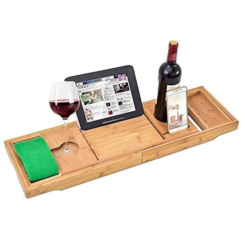 RoseFlower 109 x 23 cm Badewannenablage aus Bambus Ausziehbar Badewanne Caddy Badewanne Tablett mit Verstellbarer iPad, Buch, eReader, Handys, Wein Glas Halter - für das ultimative Verwöhnerlebnis #1