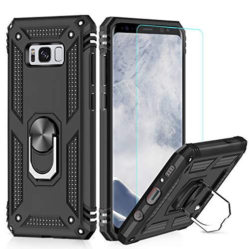LeYi Custodia Galaxy S8 Plus Cover, 360° Girevole Regolabile Ring Armor Bumper TPU Case Magnetica Supporto Smartphone Silicone Custodie con HD Pellicola per Samsung Galaxy S8 Plus/S8+ Case Nero