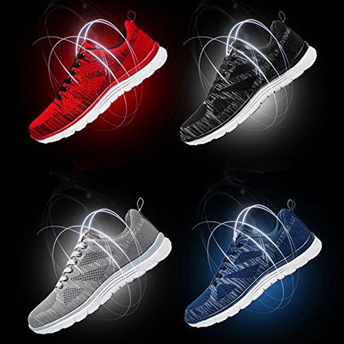 Weien Shop Sneaker zum Herren Atmungsaktive Sportlich Running Gym Sportschuhe Schwarz Blau Grau Rot 39-44 Rot