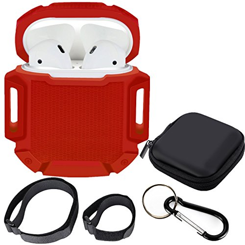 Moretek custodia portatile case per airpods, protettiva silicone airpods case skin cover copertura airpods auricolare box for apple airpods cuffie (red)