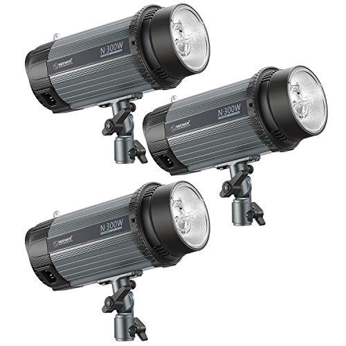 Neewer Studioblitz 3-Pack 300W 5600K Foto Studio Strobe Blitzlicht Monolight mit Modelier-Lampe, Aluminiumlegierung Speedlite für Studios Modell Fotografie, Portraitfotografie (N-300W) Strobe Set
