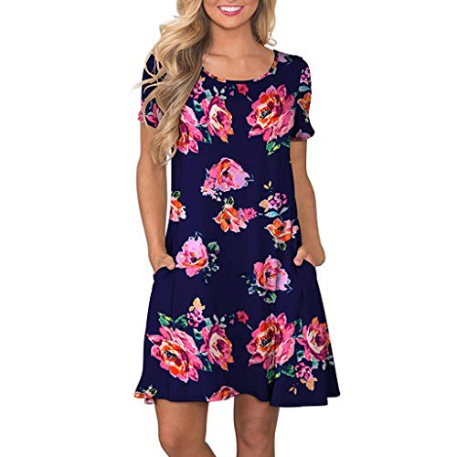 Zegeey Damen Kleid Sommer Kurzarm Floral Bedruckte Taschen Swing Kleider Sommerkleider Strandkleider Knielang BeiläUfige Lose(Hot Pink,M)
