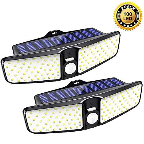 Babacom Solarlampen für Außen, [2 Stück] 100 LED Solarleuchte Garten mit Bewegungsmelder, 220 ° Beleuchtungswinkel, IP65 Wasserdicht, 1600 Lumen, 1800mAh Wandleuchte für Gärten,Flur,Wege,Balkon,Hof