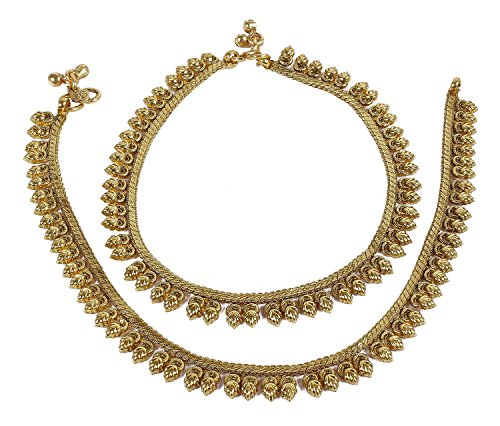 South Indian Style Gold Plated Polki Anklet/Payal For Women Wedding Jewelry