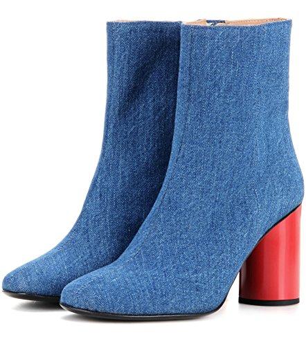 Damen High Heel wasserdichte Stiefeletten Herbst Winterbeuten Hellblaue Cowboystiefel Rau mit Stiefeletten Tuch 8009FD , Blue , 44