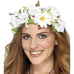 Sujeción cabello floral Corona flores hippie Adorno cabeza florido Accesorio pelo flower power Complemento disfraz 60 70 Diadema con flores