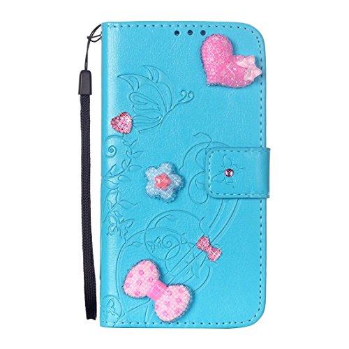 iPhone Case Cover Pour iPhone 7 Coeur Diamond Encrusted Fleurs Embossing Horizontal Flip Housse en cuir avec Holder & Card Slots & Portefeuille & Lanyard ( Color : Brown ) Blue
