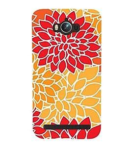Printvisa Premium Back Cover Orange and Red Floralpattern Design for Asus Zenfone Max ZC550KL