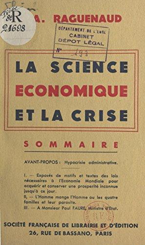 La science économique et la crise par A. Raguenaud