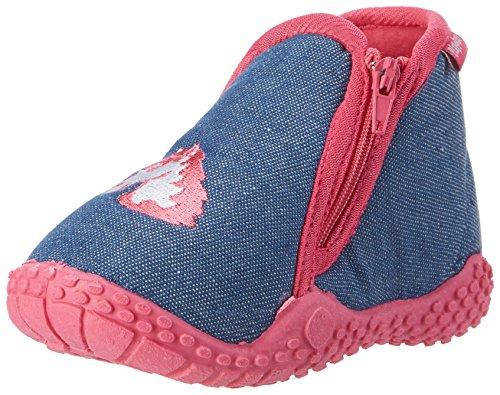 Playshoes Kinder Hausschuhe mit praktischem Reißverschluss, niedliche Hüttenschuhe für Mädchen und Jungen, mit Einhorn-Motiv