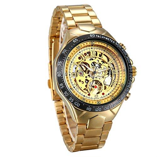 JewelryWe Herren Automatik Armbanduhr Gold Edelstahl Armband Skelett Uhr Automatikuhr