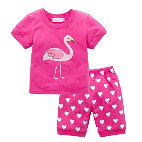 ESHOO Klein Mädchen Pyjamas Kurzarm T-shirt Tops + Kurze Hosen Kinder Nachtwäsche Set (Kleine Pyjama-hose)