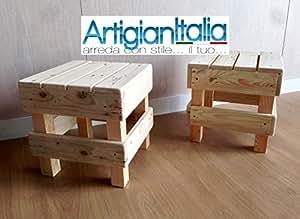 Coppia n° sgabello puff pouf sedia in legno design panca per bar