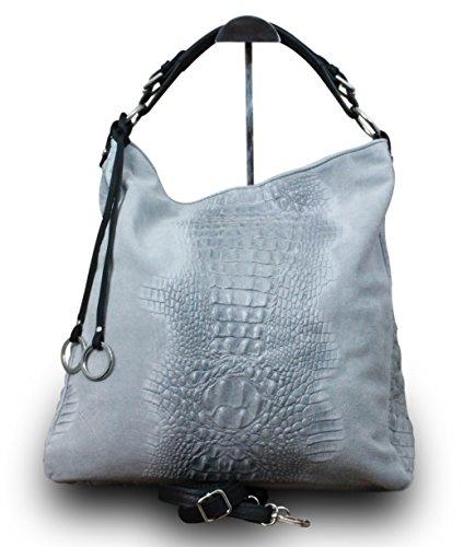 Fabriqué en Italie Luxe Femme Sac à bandoulière shopper XL Bag Nubuck Cuir Véritable alligator Stamp Gris
