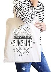 Enjoy The Sunshine Natural Cute Summer Heavy Cotton Canvas Tote Bag